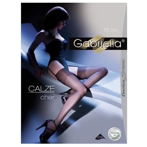 Купить Чулки Gabriella Calze Cher, 15 den, размер 3/4, черный, Интим-товары