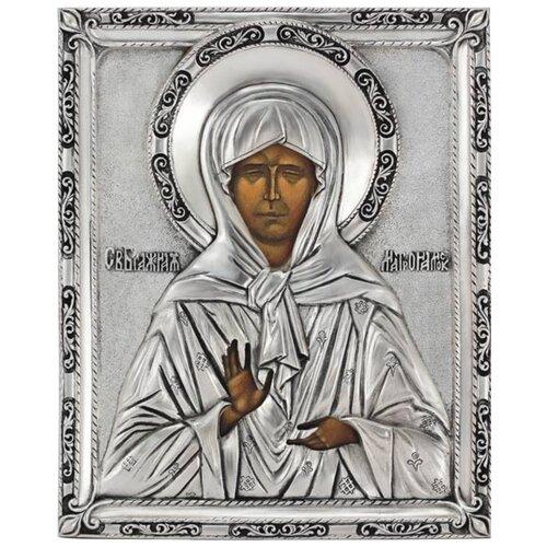 Икона Святая блаженная Матрона (посеребрённый оклад), 18х22 см