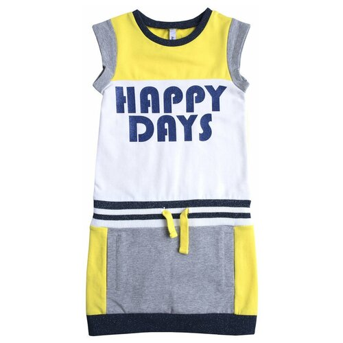 Фото - Платье playToday размер 122, белый/желтый/темно-синий/серый платье mayoral размер 7 122 темно синий