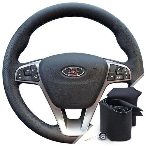Оплетка для резинового руля Lada Vesta (2018-2021) - черная нить