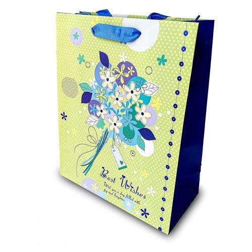 Фото - Пакет подарочный матовый большой, с тиснением Best Wishes 32*26*12 см пакет подарочный круги y6 2488 i k с тиснением 32х26х12 см