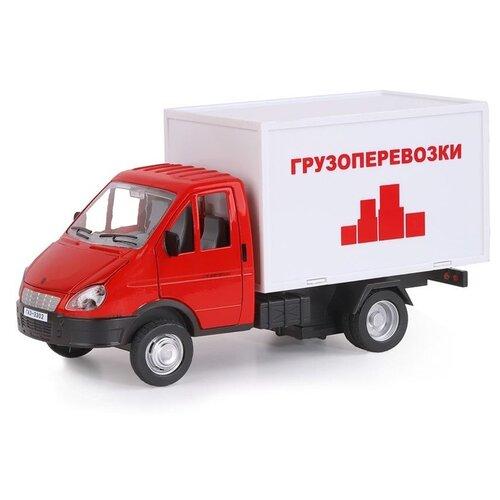 Фургон Автопанорама Газель бизнес Грузоперевозки (JB1200217) 1:28, 19.2 см, красный/белый