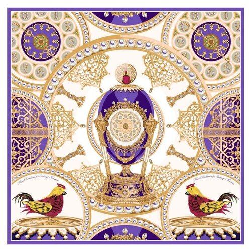 Платок Русские в моде by Nina Ruchkina Фаберже яйцо-часы Петушок белый/фиолетовый