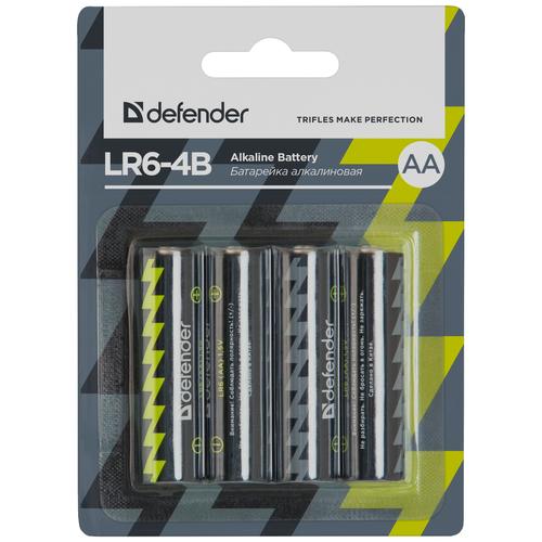 Батарейка Defender алкалиновая AA LR6, 4 шт. батарейка perfeo алкалиновая pf lr6 4sh