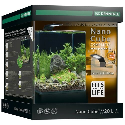 Аквариумный набор 20 л Dennerle NanoCube Complete+ Style 20 черный/прозрачный аквариум dennerle nanocube 20 литров 1 шт