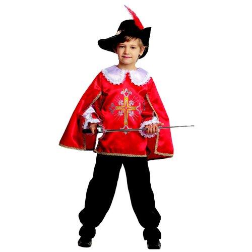 Купить Костюм Батик Мушкетер (7003-1/7003-2), красный/черный/белый, размер 146, Карнавальные костюмы