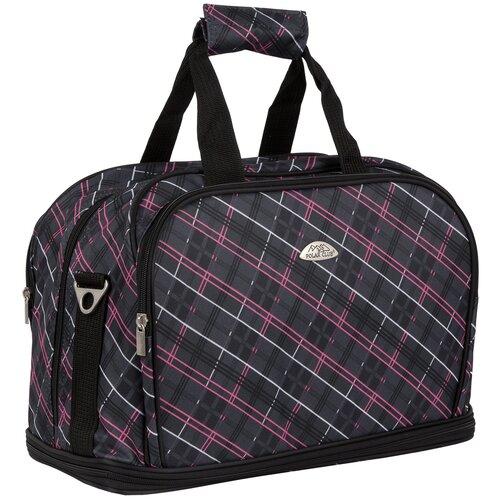 Дорожная сумка П7092 клетка розовая