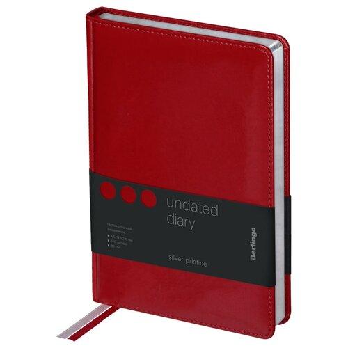 Ежедневник Berlingo Silver Pristine недатированный, искусственная кожа, А5, 160 листов, красный