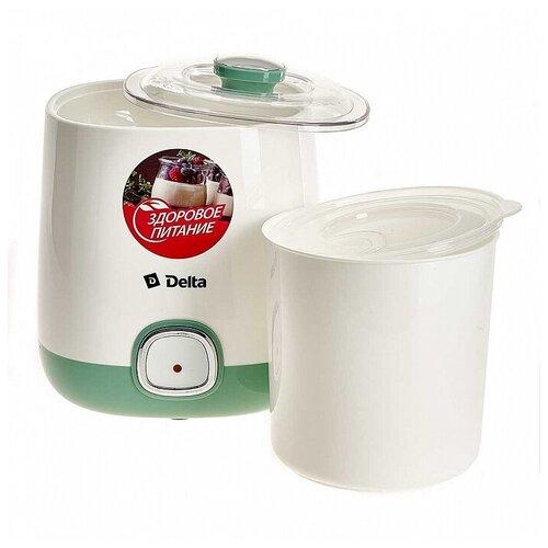 Йогуртница электрическая DELTA DL-8400 : 20 Вт,Объем контейнера 1 л ,белый с серо-зеленым
