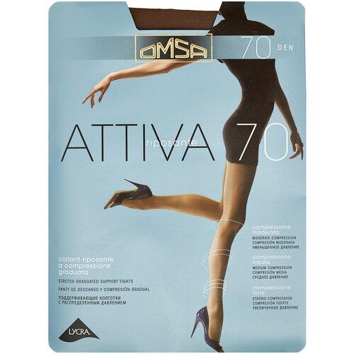 Колготки Omsa Attiva, 70 den, размер 3-M, camoscio (коричневый) колготки omsa attiva 70 den размер 2 s camoscio коричневый