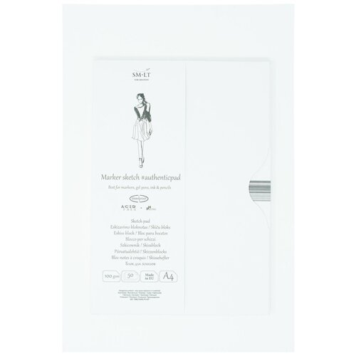 Купить Альбом SM-LT Authentic Marker в папке А4 50л 100 г/м2 белый, склейка MA-50, Smiltainis, Альбомы для рисования