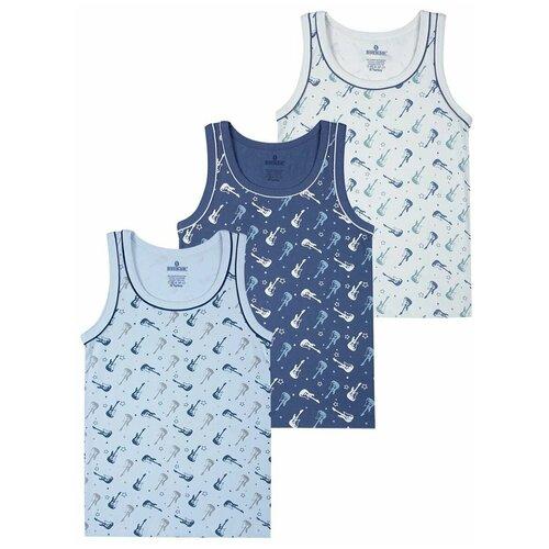 Купить Майка BAYKAR 3 шт., размер 122/128, серый/голубой/синий, Белье и пляжная мода
