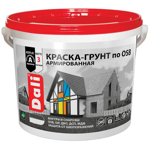 Краска акриловая DALI Краска-грунт по OSB матовая бесцветный 12 кг недорого