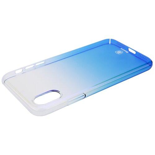 Фото - Чехол-накладка Baseus Glaze Case для Apple iPhone X/Xs transparent blue чехол накладка baseus thin case для apple iphone x black