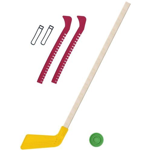 Набор зимний: Клюшка хоккейная жёлтая 80 см.+шайба + Чехлы для коньков красные, Задира-плюс
