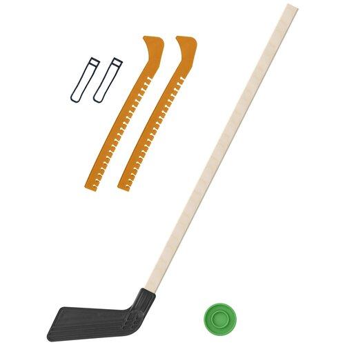 Набор зимний: Клюшка хоккейная чёрная 80 см.+шайба + Чехлы для коньков желтые, Задира-плюс