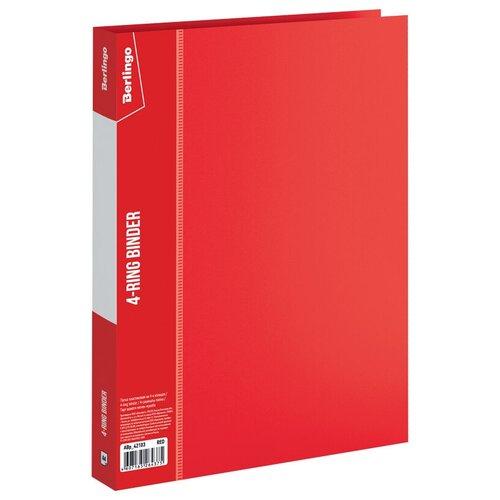 Berlingo Папка на 4-х кольцах Standard А4, 25 мм, пластик красный berlingo папка на 4 х кольцах color zone а4 35 мм пластик синяя