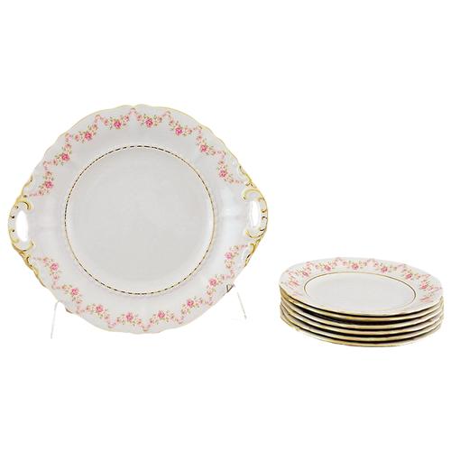 Фото - Сервиз для торта Соната Розовая нить, с тарелками 19 см, 7 пр., Leander сервиз для торта соната весенние цветы 7 пр 07161019 0013 leander