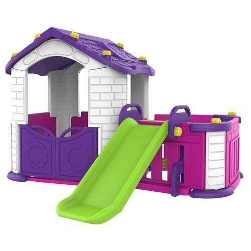 Купить Игровой домик с забором и горкой, цвет фиолетовый, Toy Monarch, Игровые домики и палатки