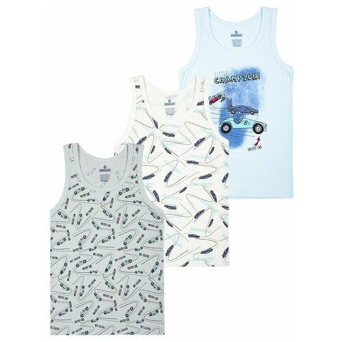 Купить Майка BAYKAR 3 шт., размер 146/152, белый/серый/голубой, Белье и пляжная мода