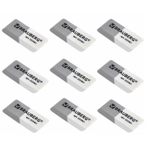 Фото - Ластик BRAUBERG, 41х14х8 мм, серо-белый, прямоугольный, скошенные края, 222461 (9 штук) 222461-9 ластик прямоугольный синтетич каучук белый 39х19х10 мм index пакет