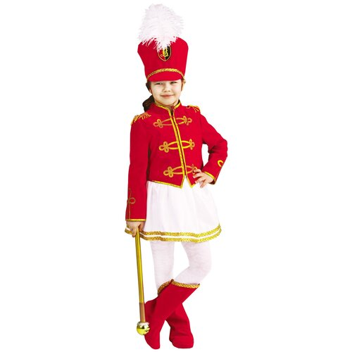 Купить Костюм пуговка Мажоретка (1049 к-19), красный/белый/золотистый, размер 122, Карнавальные костюмы