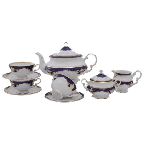 Сервиз чайный Соната Темно-синяя окантовка с золотом, 15 пр., Leander
