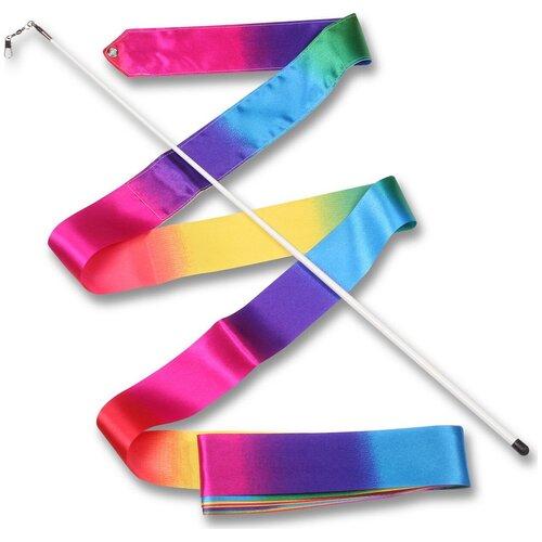 Палочка с лентой для художественной гимнастики Indigo АВ227-24 радуга недорого