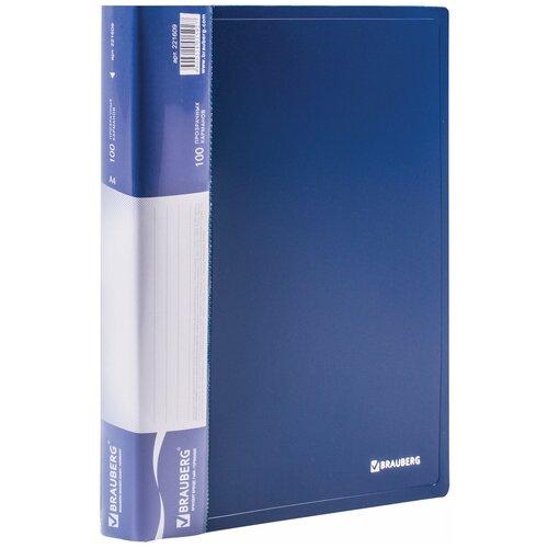 Фото - BRAUBERG Папка-дисплей на 100 вкладышей Стандарт А4 синяя папка 100 вкладышей brauberg стандарт синяя 0 9 мм 221609