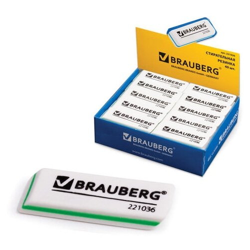 Фото - Ластик BRAUBERG Partner, 57х18х8 мм, белый, прямоугольный, скошенные края, 221036 - 14 шт. ластик прямоугольный синтетич каучук белый 39х19х10 мм index пакет
