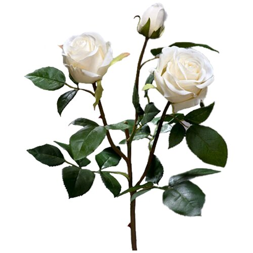 Искусственный цветок Роза Флорибунда Мидл ветвь белая 36 см pablo de gerard darel белая блузка с рельефной отделкой