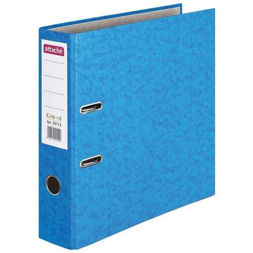 Attache Папка-регистратор с металлической окантовкой Colored А4, 75 мм, бумага синий