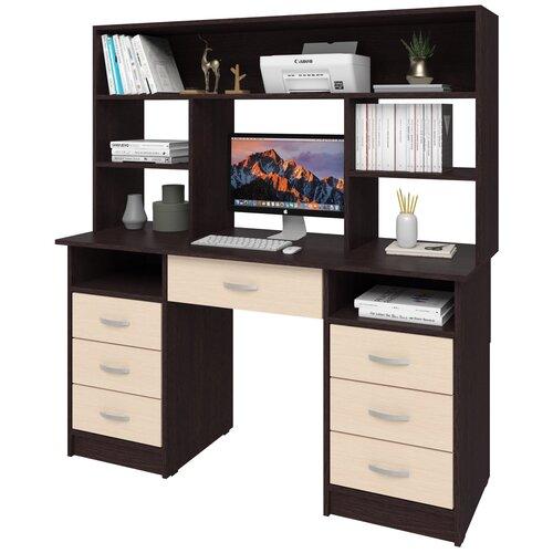 Фото - Письменный стол СитиМебель двухтумбовый с 6 ящиками, дополнительным ящиком под столешницей и надстройкой, ШхГ: 140х50 см, цвет: венге цаво/дуб молочный письменный стол ситимебель компактный шхг 140х50 см цвет венге цаво