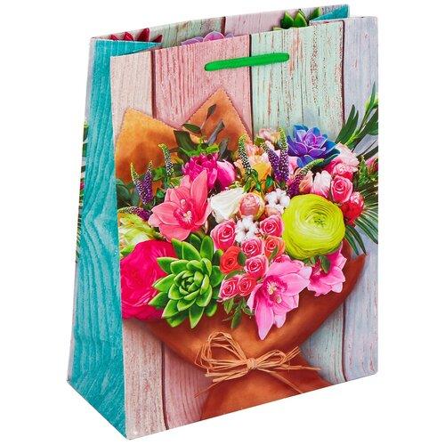 Фото - Пакет подарочный Дарите Счастье Поздравляю!, цвет: мультиколор, 18 х 8 х 23 см. 2634301 пакет подарочный единорог на пончике а5 16 х 24 х 8 см
