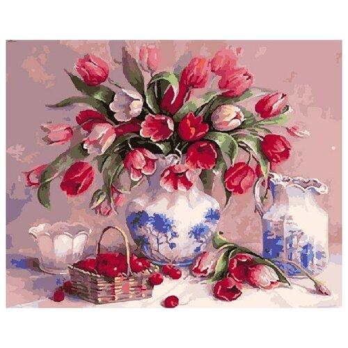 Картина по номерам GX 5418 Тюльпаны и вишни 40*50 картина по номерам gx 9871 уточки и лодочка 40 50