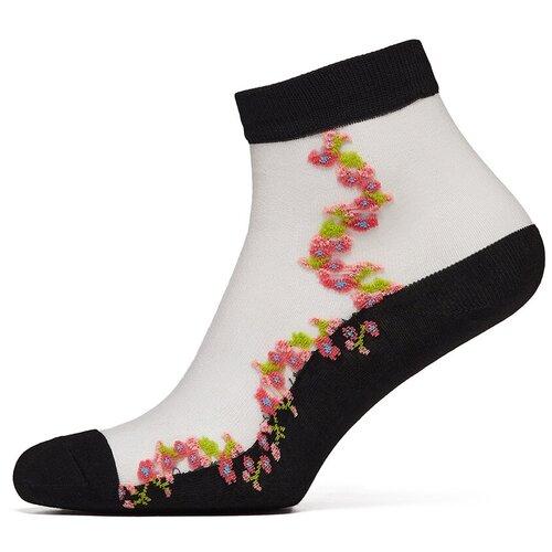 Носки женские с вышивкой Le Cabaret (сапфировый; белый) р-р 36-40 1пара