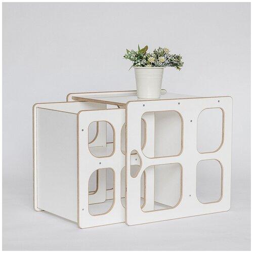 Детский стол скамья и стул Монтессори трансформер, комплект детской мебели стол и стул, белый