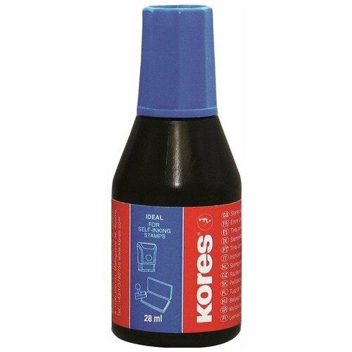 Краска штемпельная Kores на водно-масляной основе, синяя, 28 г