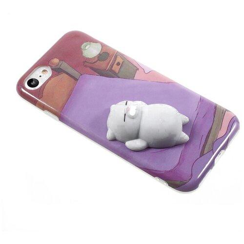 Чехол на смартфон с игрушкой Жмяка кот белый на модель IPhone 6,6s, цвет сиреневый,белый