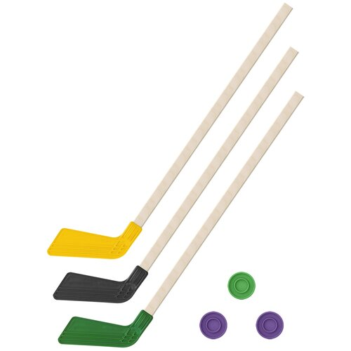 Детский хоккейный набор зима,лето 3 в 1/ Клюшки хоккейных 80 см желтая, черная, зеленая + 3 шайбы, Задира-плюс