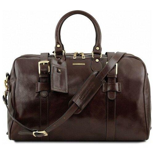 Дорожная кожаная сумка Tuscany Leather Voyager с пряжками большой размер TL141248 Темно-коричневый