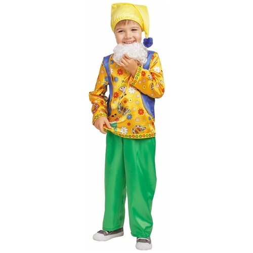 Фото - Костюм пуговка Гном Кузьма (1008 к-18), зеленый/желтый/синий, размер 128 костюм пуговка кузнечик 2080 к 20 зеленый размер 128