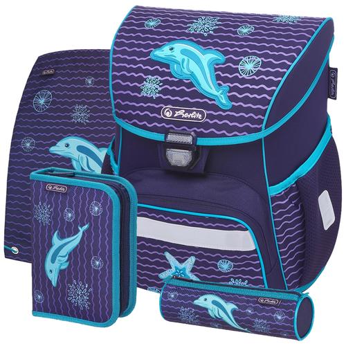 Купить Herlitz Ранец Loop Plus Dolphin с наполнением, фиолетовый, Рюкзаки, ранцы