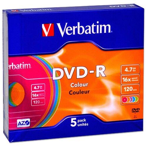 Диск Verbatim DVD-R 4,7Gb 16x slim Color, упаковка 5 штук