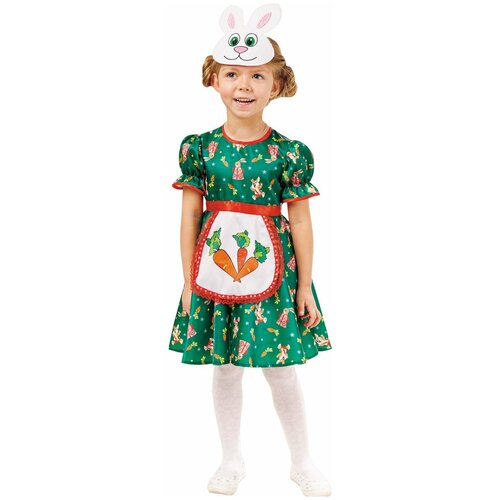 Купить Костюм пуговка Зайка Аня (1009 к-18), зеленый, размер 128, Карнавальные костюмы