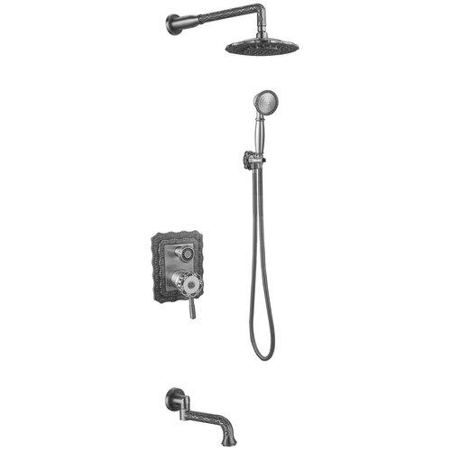 Душевая стойка встраиваемый ZorG Antic A 104DS-SL серебро