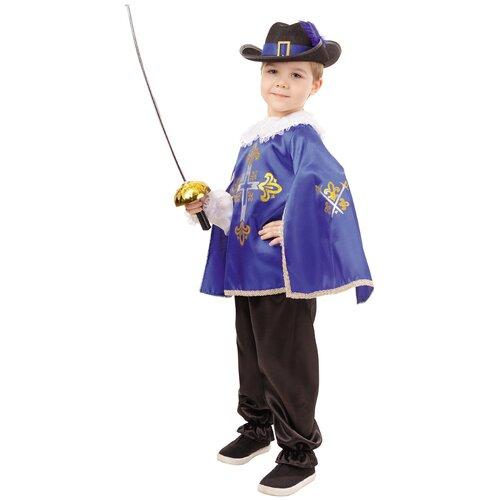 Купить Костюм пуговка Мушкетер (2030 к-18), синий/черный, размер 140, Карнавальные костюмы