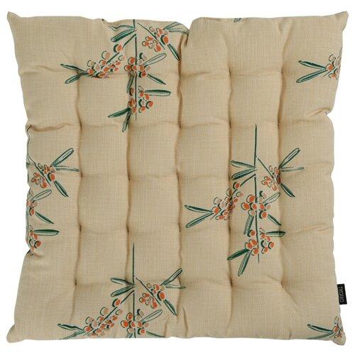 Подушка на стул стеганая из хлопка с графичным принтом Обед рябинника из коллекции russian north