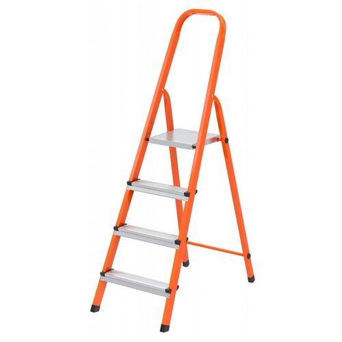 СИБРТЕХ Стремянка, 4 ступени, стальной профиль, ступени сталь, оранжевая, Сибртех