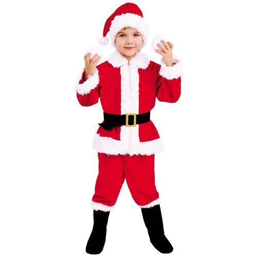 Купить Костюм пуговка Санта Клаус (2061 к-19), красный/белый, размер 110, Карнавальные костюмы